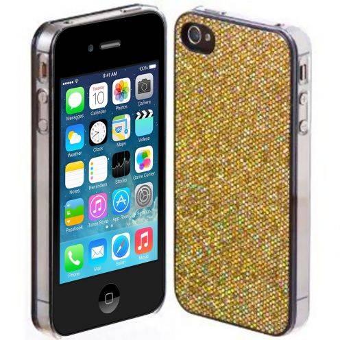 Carcasa Lujo Strass & Lentejuelas Oro iPhone 4S / 4