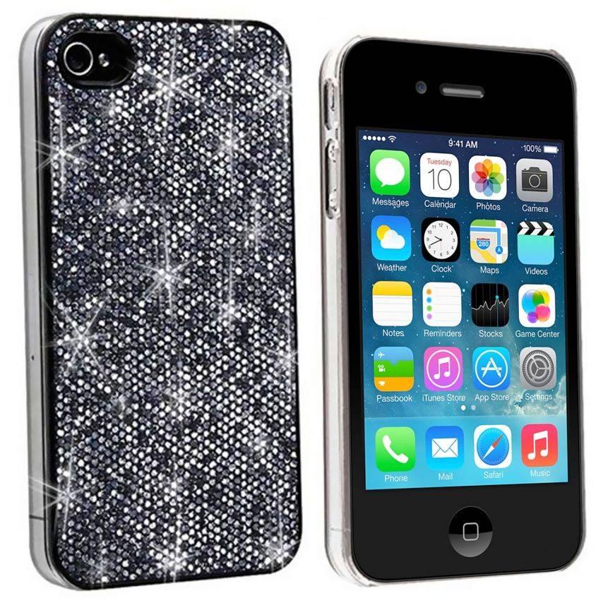 Carcasa Lujo Strass & Lentejuelas Negra iPhone 4S / 4