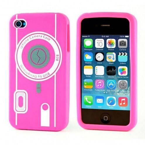 Funda Silicona Cámara Rosa para iPhone 4S / 4