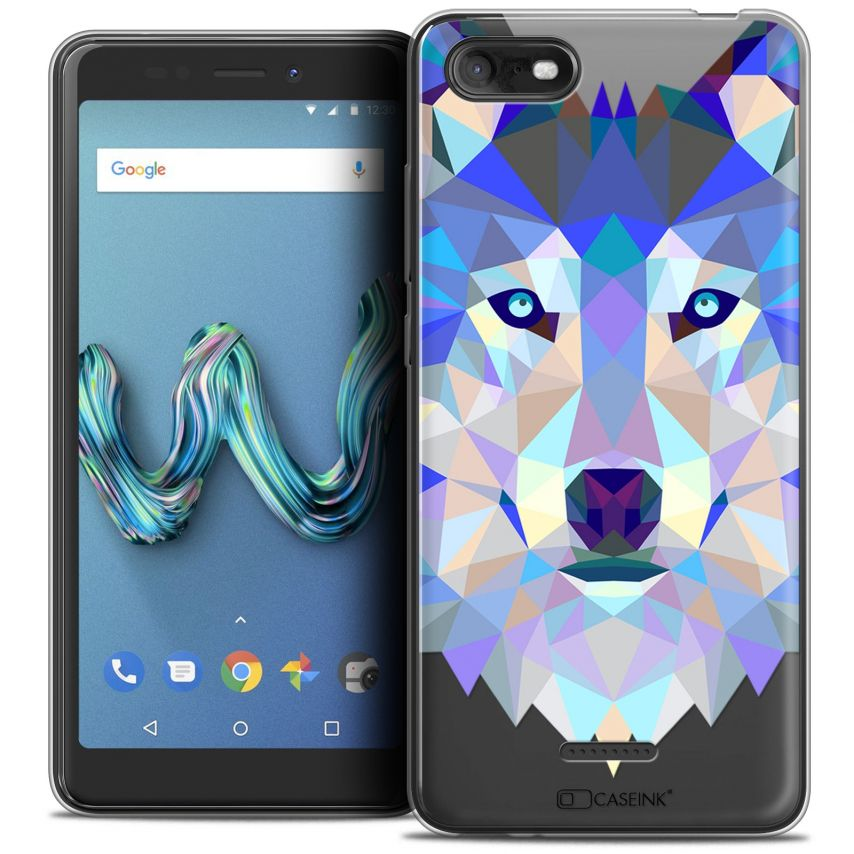 "Carcasa Crystal Gel Extra Fina Wiko Tommy 3 (5.45"") Polygon Animals Lobo"