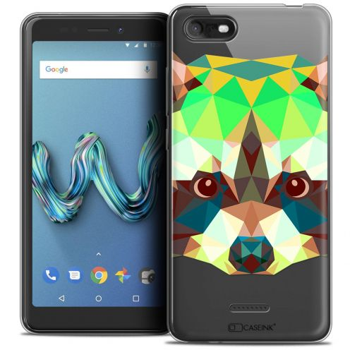"Carcasa Crystal Gel Extra Fina Wiko Tommy 3 (5.45"") Polygon Animals Raton Laveur"
