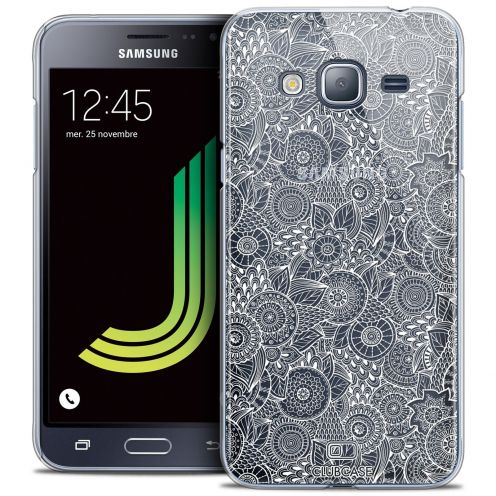Coque Crystal Galaxy J3 2016 (J320) Extra Fine Texture Dentelle Florale - Blanche