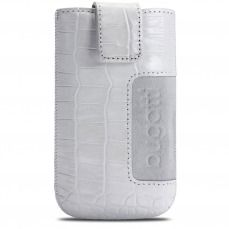 Funda Bolsa Bugatti® Cuero Genuino SlimCase Croco Talla SL Blanco 81x134mm