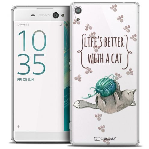 "Coque Crystal Xperia XA Ultra 6"" Extra Fine Quote - Life's Better With a Cat"
