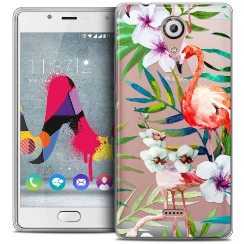 Coque Crystal Gel Wiko U Feel LITE Extra Fine Watercolor - Tropical Flamingo