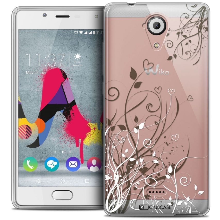 Coque Crystal Gel Wiko U Feel LITE Extra Fine Love - Hearts Flowers