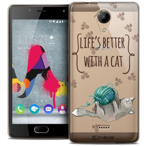 Coque Crystal Gel Wiko U Feel LITE Extra Fine Quote - Life's Better With a Cat