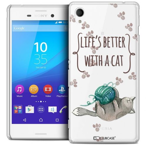 Carcasa Crystal Extra Fina Sony Xperia M4 Aqua Quote Life's Better With a Cat