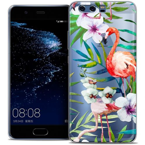 Coque Crystal Gel Huawei P10 Extra Fine Watercolor - Tropical Flamingo