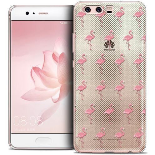 Coque Crystal Gel Huawei P10 Extra Fine Pattern - Les flamants Roses Dots