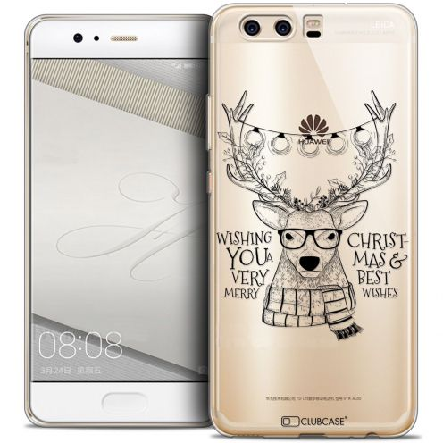 Coque Crystal Gel Huawei P10 Extra Fine Noël 2016 - Cerf Hipster