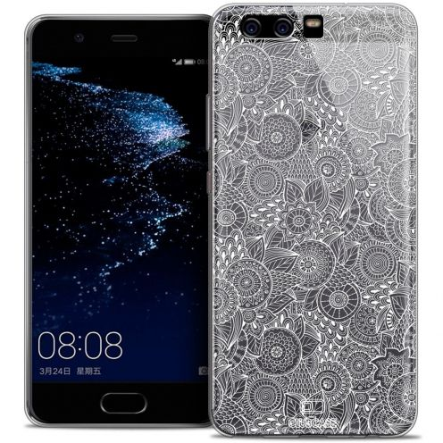 Coque Crystal Gel Huawei P10 Extra Fine Dentelle Florale - Blanc