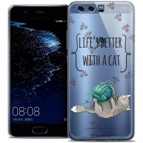 Coque Crystal Gel Huawei P10 Extra Fine Quote - Life's Better With a Cat