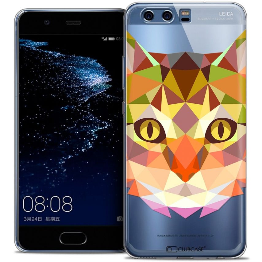 Coque Crystal Gel Huawei P10 Extra Fine Polygon Animals - Chat