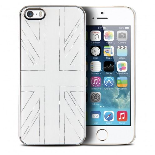 Carcasa Qdos® Smoothies Metallics Miror UK Blanco por iPhone 5/5S