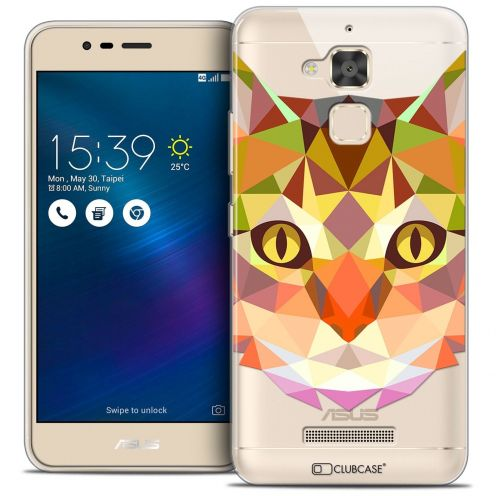 """Coque Crystal Gel Asus Zenfone 3 Max ZC520TL (5.2"""") Extra Fine Polygon Animals - Chat"""